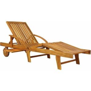 Sonnenliege Tami Sun Akazien Holz verstellbar ausziehbarer Tisch klappbar Gartenliege Holzliege Liege Liegestuhl - DEUBA