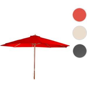 Sonnenschirm Florida, Gartenschirm Marktschirm,  3,5m Polyester/Holz 7kg ~ bordeau