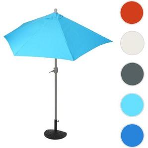 Sonnenschirm halbrund Parla, Halbschirm Balkonschirm, UV 50+ Polyester/Stahl 3kg ~ 270cm trkis mit Stnder
