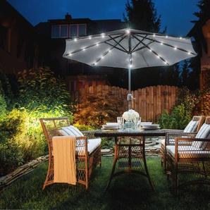 Sonnenschirm LED-Beleuchtung Ø266 cm dunkelgrau RAPALLO