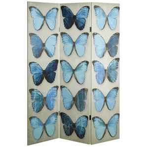 Spanische Wand mit Schmetterling Motiv Blau Beige