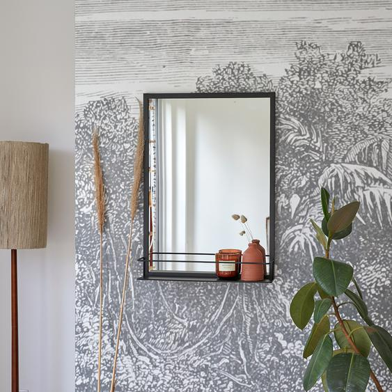 Spiegel aus Metall 70 x 50 cm mit Ablagefläche industrieller Stil bei