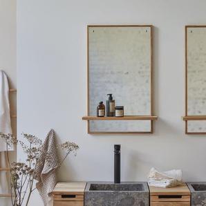 Spiegel aus Teak mit Ablage Wandspiegel