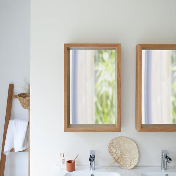 Spiegel Badezimmerspiegel Wandspiegel mit Rahmen aus Eichenholz 70x45 cm