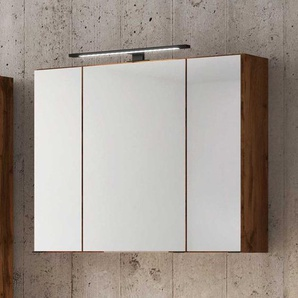 Spiegel Badschrank im Wildeiche Dekor LED Beleuchtung