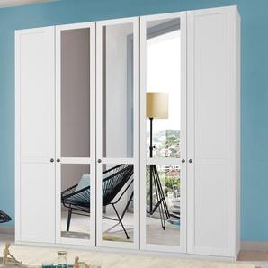 Spiegel-Drehtüren-Kleiderschrank Alvito, weiß, 3-türig