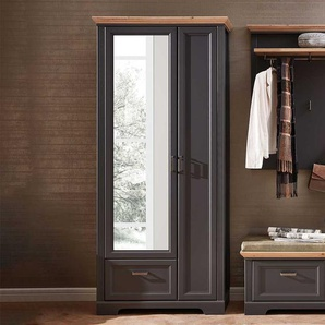 Spiegel Garderobenschrank in Dunkelgrau und Eichefarben Landhaus Design