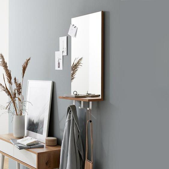 Spiegel mit Ablage und Haken - braun - Holz -