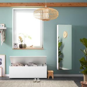 Spiegel-Schuhschrank - Weiß - Holz -