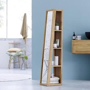 Spiegel Spiegelschrank Hochschrank Standregal Spiegel massives Teak Badezimmer