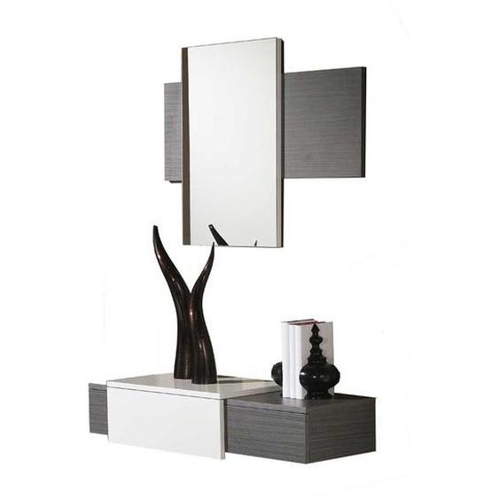 Spiegel und Wandkonsole in Dunkelgrau Weiß Hochglanz (2-teilig)
