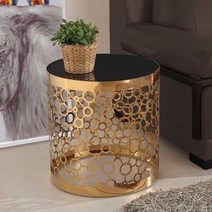 Spiegelglas Beistelltisch in Schwarz und Goldfarben Zylinderform