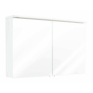 Spiegelschrank 100x64 4x16 6cm mit integrierter LED Lichtleiste weiß hochglanz