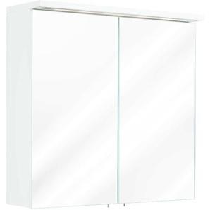 Spiegelschrank 66x64 4x16 6cm mit integrierter LED Lichtleiste weiß hochglanz