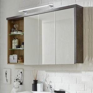Spiegelschrank Bay 3-türig 3D Eiche Riviera Honig und grau Beton Design 120 cm