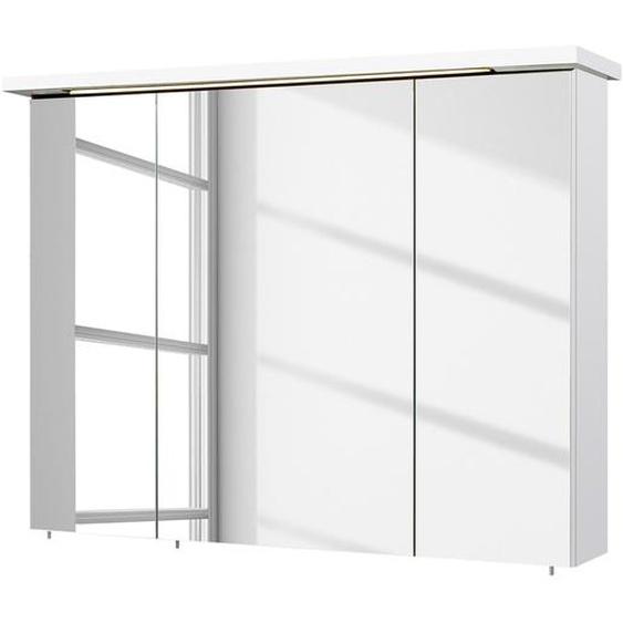 Pelipal Spiegelschrank Cesa Spanplatte Weiß 75x72x20 cm (BxHxT) Modern Beleuchtung