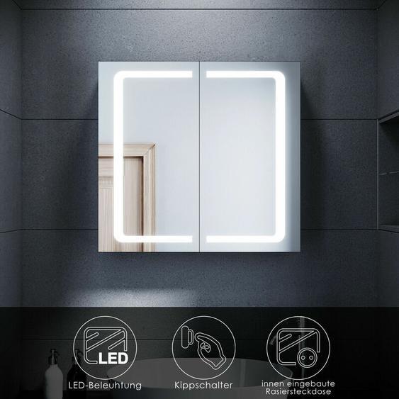 Spiegelschrank mit LED Beleuchtung Badspiegel Badschrank Edelstahl Badezimmer Schrank Steckdose,Kippschalter,2-türig,70x65cm - Sonni