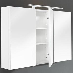Spiegelschrank mit LED-Beleuchtung, Korpus MDF wei, B x H x T 110 x 68 x 16 cm