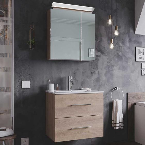 Spiegelschrank und Waschtisch in Eiche hell LED Beleuchtung (2-teilig)