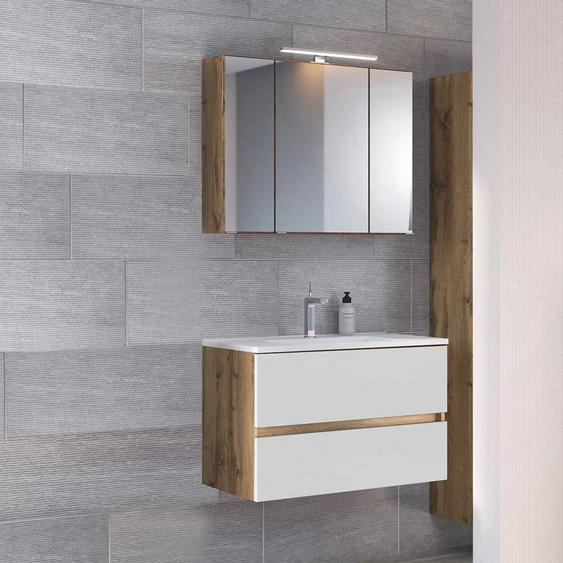 Spiegelschrank und Waschtisch in Wei� und Wildeiche Optik LED Beleuchtung (2-teilig)
