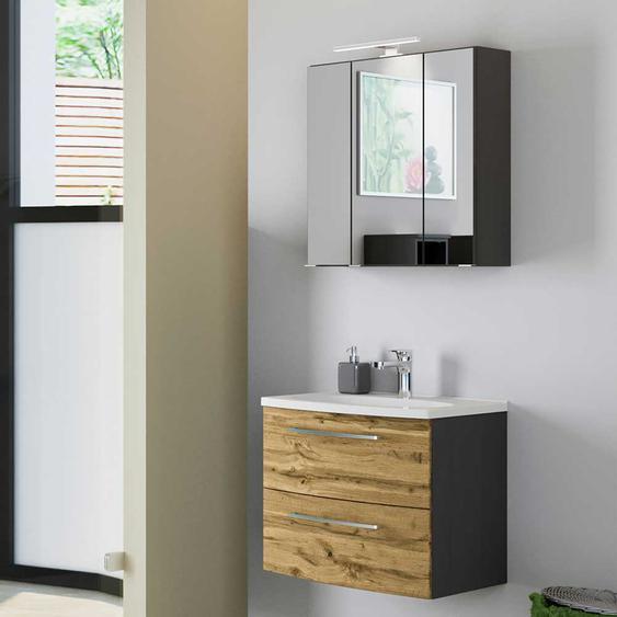Spiegelschrank und Waschtisch in Wildeiche Optik und Dunkelgrau modern (2-teilig)