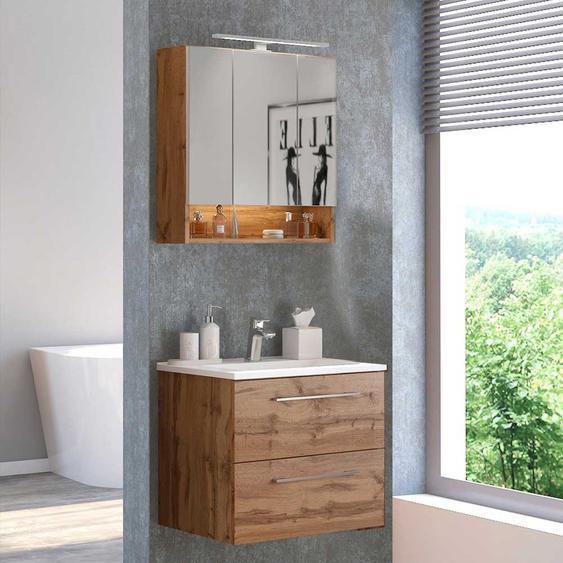 Spiegelschrank und Waschtisch in Wildeichefarben Made in Germany (2-teilig)
