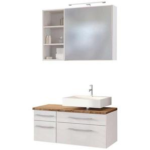 Spiegelschrank und Waschtischkommode in Wei� und Wildeiche Dekor Regal (3-teilig)