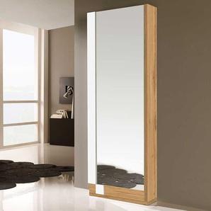 Spiegelschuhschrank in Weiß Hochglanz und Wildeiche Optik 70 cm breit