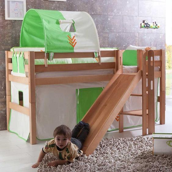 Spielbett aus Buche Massivholz Vorhang