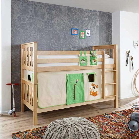 Spielbett aus Buche Massivholz Vorhang im Dschungel Design