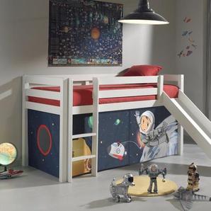 Spielbett Escalera mit Rutsche und Textilvorhang, 90 x 200 cm