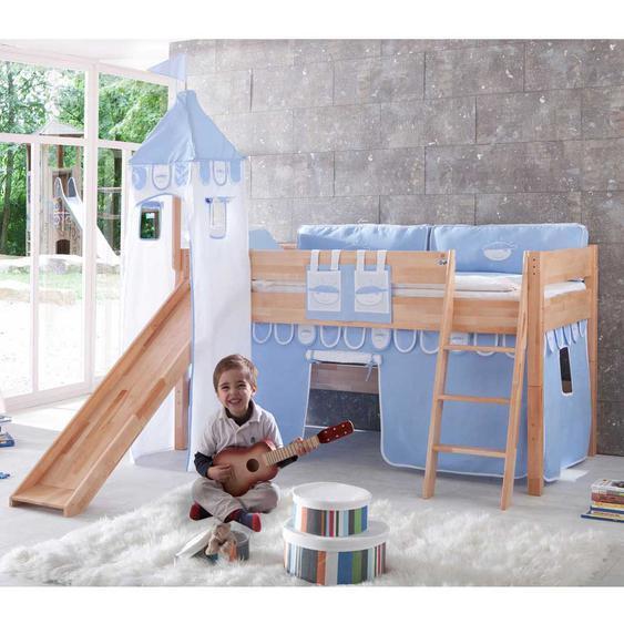 Spielbett mit blau-weißen Textilien TÜV geprüft