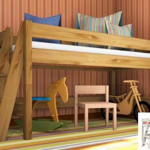 Spielbett Stockholm 1 L2 Dahlhaus Kiefer weiß, natur, schwarz, blau, nussbaum, gelaugt