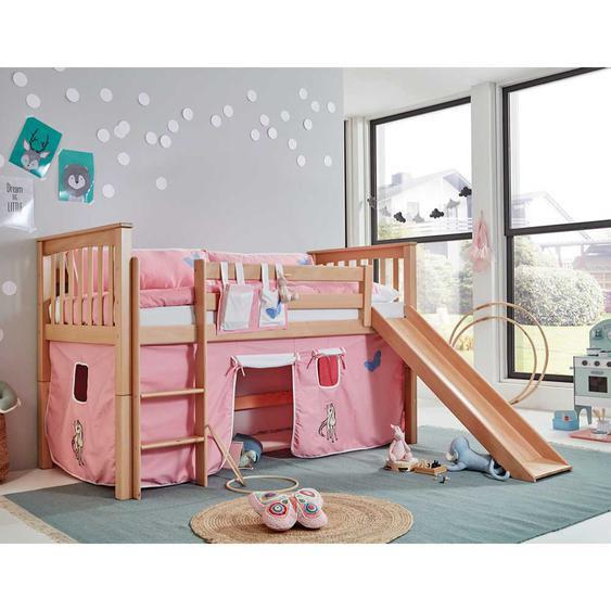 Spielhochbett aus Buche Massivholz Rutsche und Vorhang im Einhorn Design