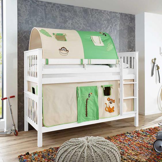 Spielhochbett in Weiß Buche massiv Vorhang und Tunnel im Dschungel Design