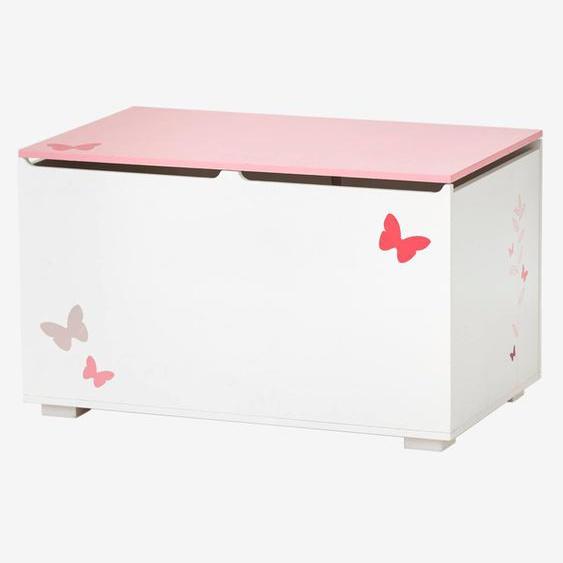 Spielzeugtruhe ,,Schmetterlinge für Kinder weiß/rosa