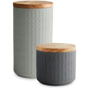 Springlane Kitchen Keramik Vorratsdosen mit Holzdeckel Misty Cliff 2-tlg.