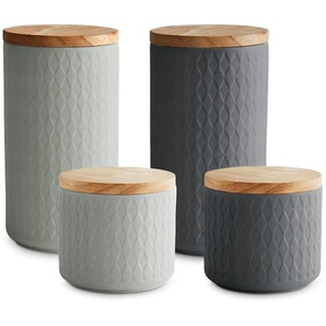 Springlane Keramik Vorratsdosen mit Holzdeckel Misty Cliff 4-tlg.