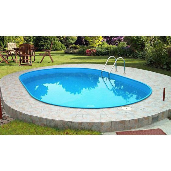 Summer Fun Stahlwandbecken Rhodos Exklusiv oval 4,20m x 8,00m x 1,50m Folie 0,6mm mosaik Einzelbecken Pool Ovalpool / 420 x 800 x 150 cm Stahlwandpool Ovalbecken