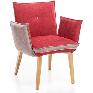 Standard Furniture Genua Armlehnstuhl Rot/Beige/Eiche Natur