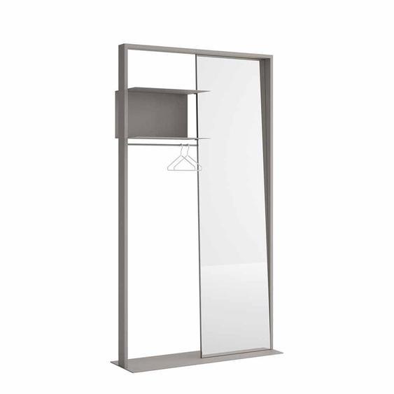 Standgarderobe in Grau mit Spiegel