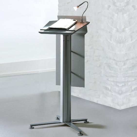 STANDINGS Rednerpult System mit Arbeitsplatte und Blende, silber, b55xt55xh118,5cm