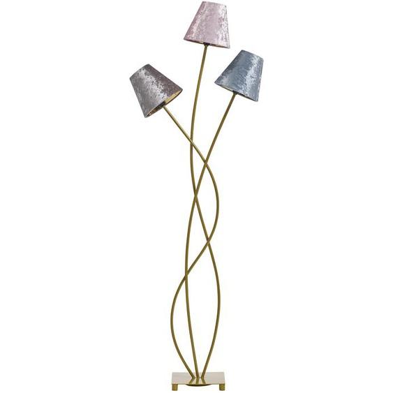 Standleuchte mit farbigen Textilschirmen in Samtoptik Einheitsgröße goldfarben Standleuchten Stehleuchten Lampen Leuchten
