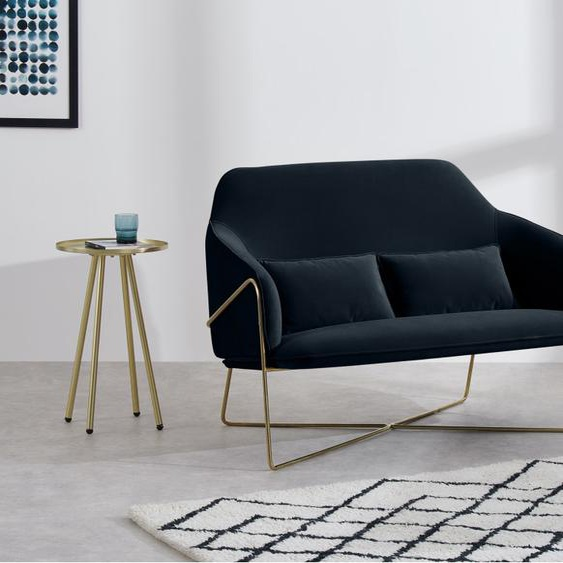 Stanley 2-Sitzer Sofa, Samt in Nachtblau