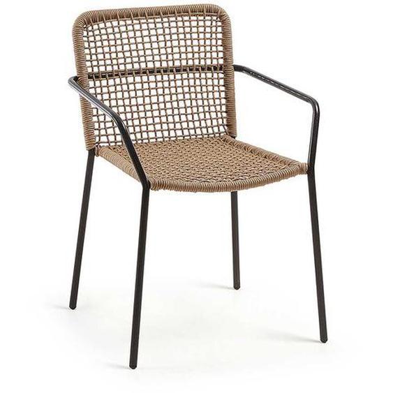 Stapelbare Stühle aus Kordel Geflecht und Metall Armlehnen (4er Set)