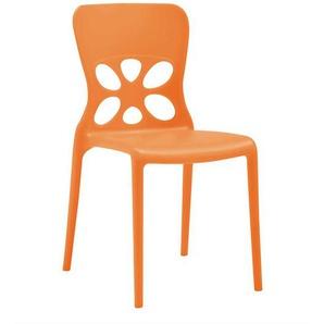 Stapelbare St�hle in Orange Kunststoff (2er Set)