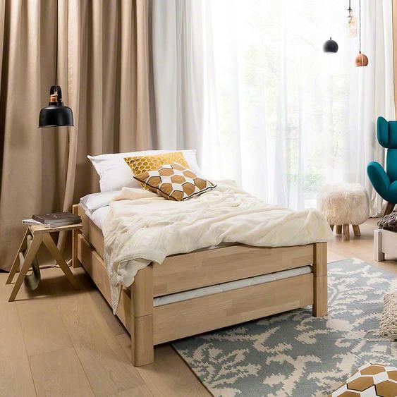 Stapelbares Bett aus Buche Massivholz geölt (2-teilig)