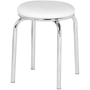 Stapelhocker weiß-verchromt rund | weiß | 46 cm |