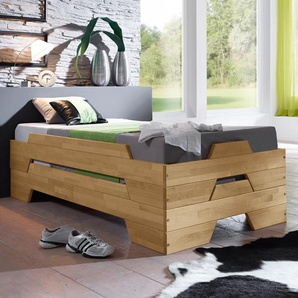 Stapelbett für Gästezimmer - 90x200 cm - Buche natur - Stapelliege Tervo