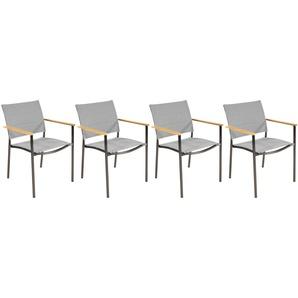 Stapelstühle 4er Set aus Edelstahl mit Textylenbezug in grau und Absetzungen in Teakholz, Maße: B/H/T ca. 56/85/62 cm